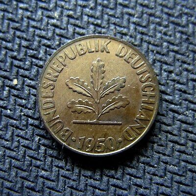 Germany 1 pfennig 1950 D Gold Plated