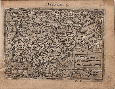Antique Map Ortelius Ortelio Hispania España Spagna Epitome Theatri Ortelliani