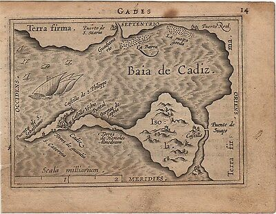 Antique Map Ortelius Ortelio Gades Cádiz España Epitome Theatri Ortelliani