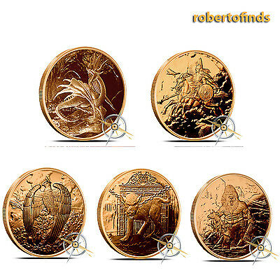 """NORDIC CREATURES Series """"5 COIN SET"""" 1 oz. Copper Round Coins FREE-SHIPPING"""
