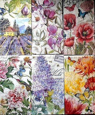 Set of 6, Paper Hostess Napkins for Paper Crafts, Floral, Butterflies