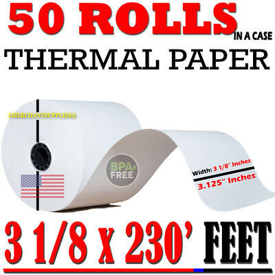 "50 pcs Rolls POS Receipt thermal Paper printer star epson IBM 3 1/8"" 80mm x 230'"