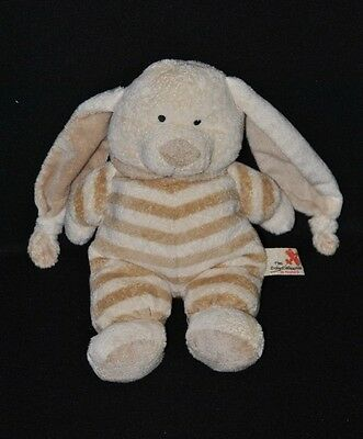 Peluche doudou lapin beige brun rayé NICOTOY The Baby Collection 27/45 cm TTBE