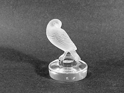 """Signed Lalique France #11821 Crystal Glass Paperweight - """"turtledove"""""""
