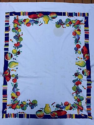 "50's Cotton TABLECLOTH  Red Blue Mexican Gourd & Pottery Bright 74"" X 62"""