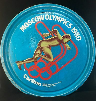 Vintage 1980 Moscow Olympic Games Carlton Beer Lager Metal Drink Tray Australian