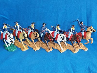 Timpo, 7Th Cavalry And Acw, Toy Soldiers, On Horseback, 7 In Total.