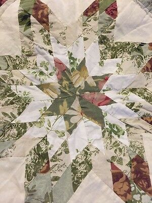 VINTAGE PAIR OF TWIN SIZE QUILTS & Shams Star FLOWERS Floral Toile