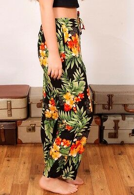 Vintage hawaiian tropical print trousers loose fit casual summer holidays