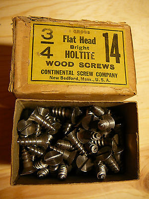 "NEW 3/4"" #14 Flat Head Wood Screws Lot of 20,Bright Holtite Continental Screw Co"