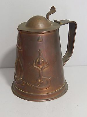 Antique Joseph Sankey Art Nouveau Copper lidded jug / tankard