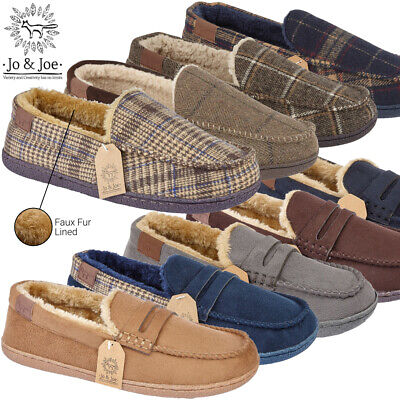 Mens Comfy Moccasin House Slipper Shoes Faux Suede Sheepskin Fur Lined Hard Sole