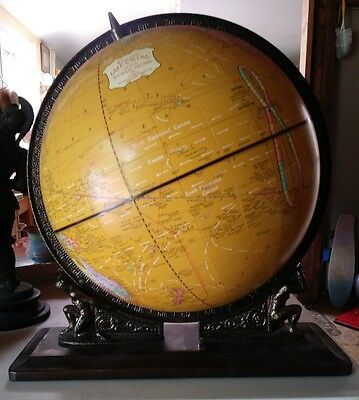 "Vintage CRAM'S Imperial 12"" WORLD GLOBE 2 Atlas TITAN Figures GREEK MYTHOS 1960s"
