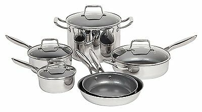 MAKER Homeware 10 Piece Stainless Steel Cookware Set with Nonstick Ceramic