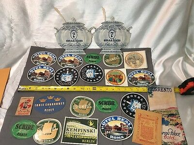 Vintage 1950s Luggage Labels Lot France/Italy/hotels/Bremen/Berlin Europe Etc