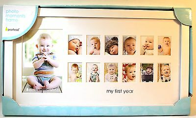 "Pearhead ""My First Year"" Photo Moments Baby Frame, White"