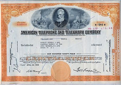 American Telephone & Telegraph Company Stock Certificate AT&T Orange