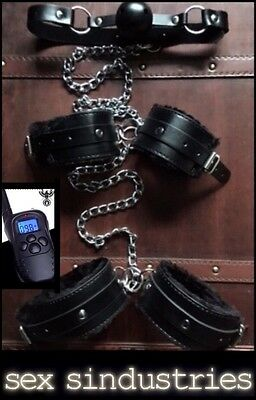 Bondage kit Mouth gag hand cuffs SHOCK ankle cuffs shackles back restraints