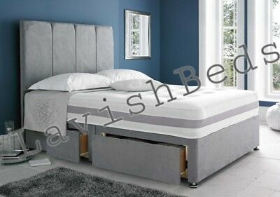 Lavish Suede Divan Bed Base In 3Ft/4Ft/4Ft6/5Ft/6Ft + Drawer & Headboard Options