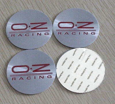 4x (Sticker) 56mm OZ Silver/Red Wheel Centre Cap Hub Caps Stickers Logo UK Stock