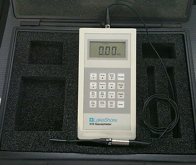 Lakeshore 410 Gaussmeter Tesla Meter Magnetometer with case manual and PROBE.