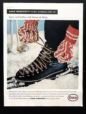 1957 Vintage Print Ad 1950s ESSO RESEARCH Ice Skate Image Snow Winter Image