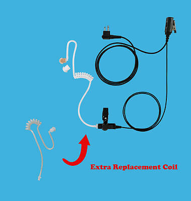 1-Wire Earpiece Headset + Extra Replace Acoustic Tube for Motorola VL50 VL130