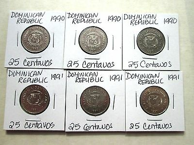 DOMINICAN REPUBLIC, 6 coins, (1989, 1991) & (1989-1990)  circ,  coins are carded