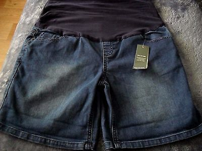 8 Blue Denim Over The Belly Maternity Stretch Shorts Adjustable Length  Bnwt $20