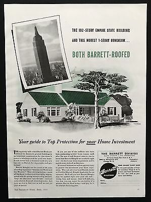 1944 Vintage Print Ad 40's  BARRETT Roofings Empire State Building Image