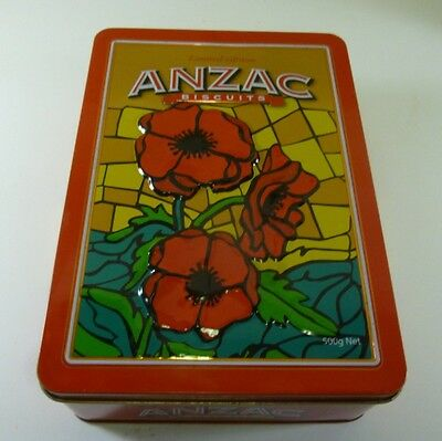 Unibic ANZAC Biscuits 'Red Poppies', NZ Issue, red, 500g. Biscuit Tin, c.2008 -