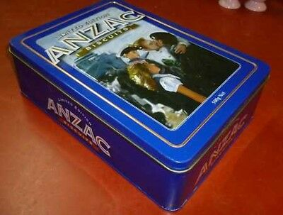Unibic ANZAC Biscuits 'The Return', NZ issue, blue, 500g. Biscuit Tin, c.2010