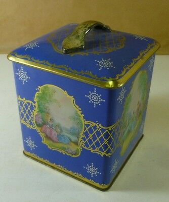 Arnott Morrow 'Victorian scenes', royal-blue, 1½ lbs. Biscuit Caddy Tin, c.1950