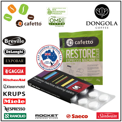 BREVILLE Espresso Coffee Machine Cleaning Cleaner Tablets + Descaler Cino Cleano