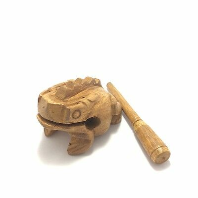 Brown Wooden Frog Animal Croaking Musical Instrument Handcraft Sound Toy Size S