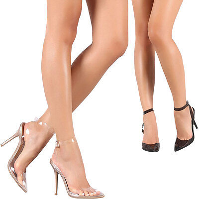 Womens Lucite Pointy Toe Ankle Strap Stiletto Heel Pump Sandal Transparent Clear