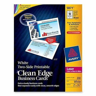 """Avery Clean Edge Business Cards - AVE5871 - 200 cards-10 per sheet 2"""" x 3.5"""" ea"""
