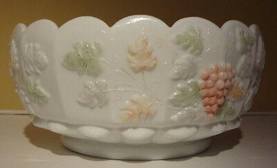 Westmoreland Hand Painted Paneled Grape Milk Glass Cupped Bowl 8 inch