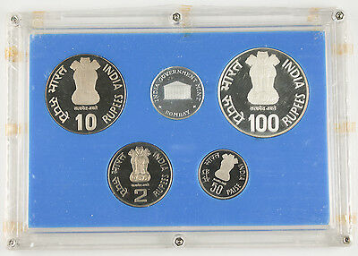 India 1985 RBI Golden Jubilee 4 Coin PROOF Set including 100 Rupee Tiger Silver