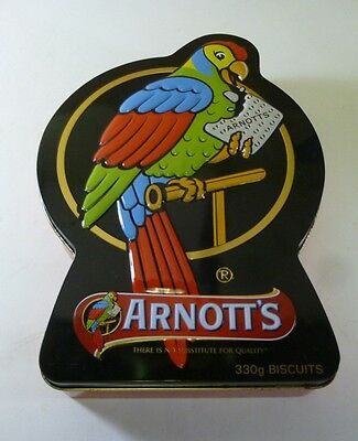 Arnott's 'ARNOTT'S PARROT TIN', black-bordered, 330g. parrot-shaped Biscuit Tin,