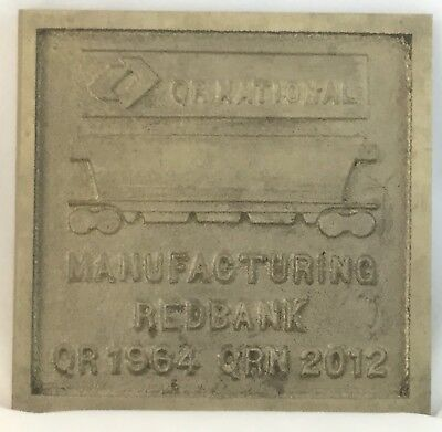 Australian Queensland Railways Qr National Redbank Train Builders Brass Plate