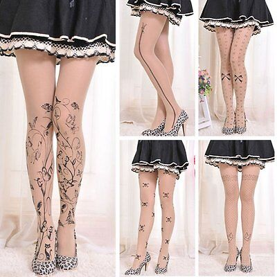 Women's Tattoo Pattern Sheer Pantyhose Socks Animal Printed Tights  Stockings AU