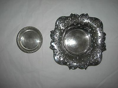 Vintage-Antique STERLING SILVER Pierced BOWL and Coaster 150g