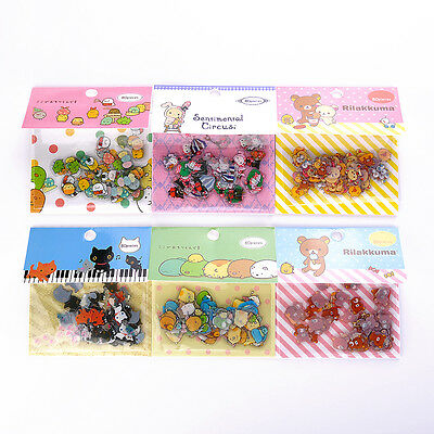 1 pack 80pc Rilakkuma PVC Sticker Cookie Bags Tags Diary Letter Decoration