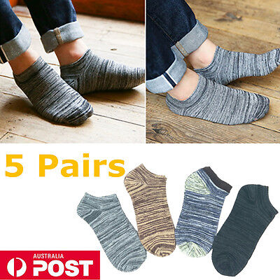 New 5 Pairs Bulk Cotton Men Low Cut Socks Ankle Invisible Causual No Show Socks