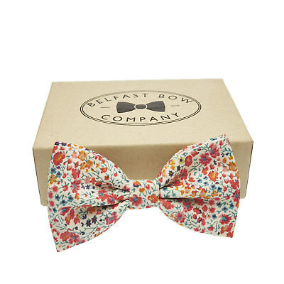 Handmade Coral Floral Bow Tie in Liberty Print Gift Boxed Adult & Junior sizes