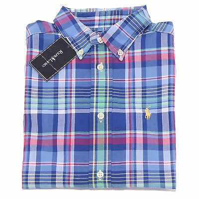 0761T camicia bimbo RALPH LAUREN quadri multicolor shirt long sleeve kid