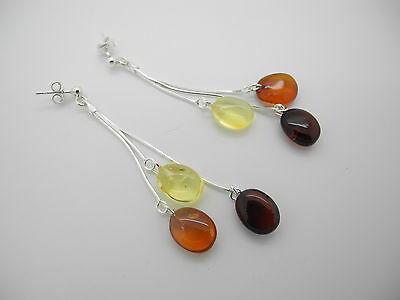 "Natural Baltic amber earrings ""Beans"" with sterling silver 925 chains"