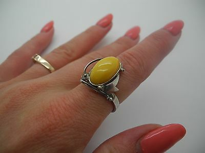 Natural Baltic antique amber silver ring