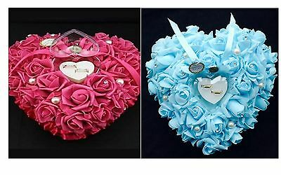 Wedding Ring Pillow Flower Rose Heart Pink Blue Ceremony Page Boy